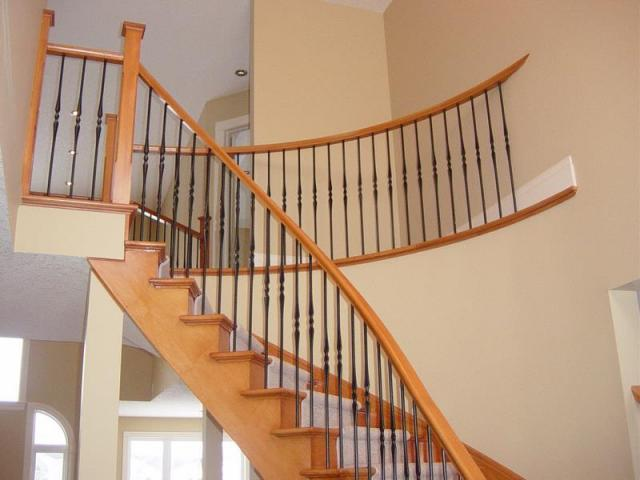 Maple Stairs With Wrought Iron